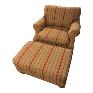 Ethan Allen Chadwick Chair and Ottoman For Sale
