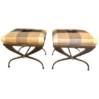Mid 20th Century Maison Jansen X Design Steel & Bronze Mounted Benches - a Pair For Sale