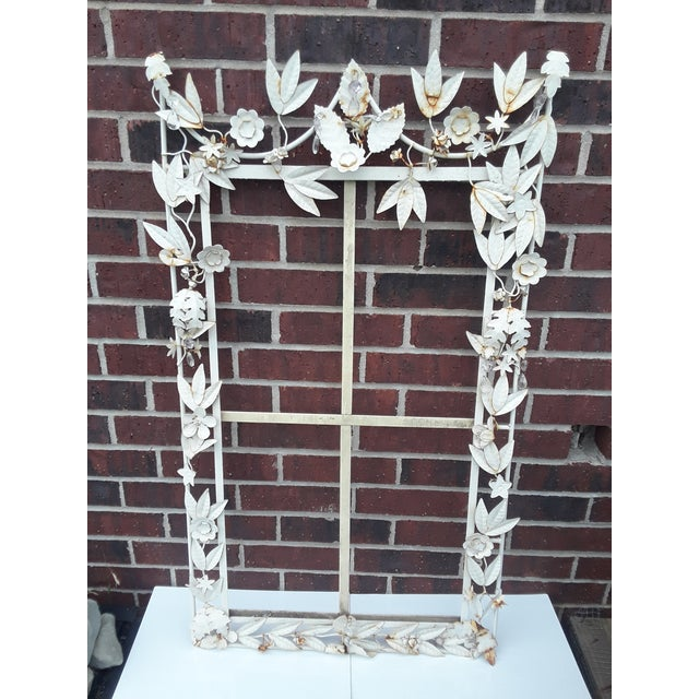 White Tole Picture or Mirror Metal Frame With Flowers, Leaves and Crystals For Sale - Image 9 of 9