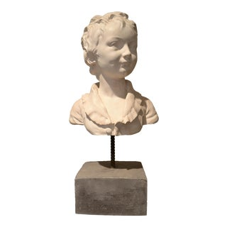 Plaster Sculpture, Young Man's Head on Stone Pedestal For Sale