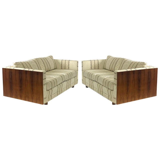 Floating Milo Baughman Cased Rosewood Tuxedo Sofas / Settees-2 Available For Sale - Image 13 of 13