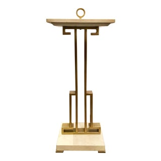 Caracole Modern Two Stoned Architectural Cream and Antique Brass Side Table For Sale