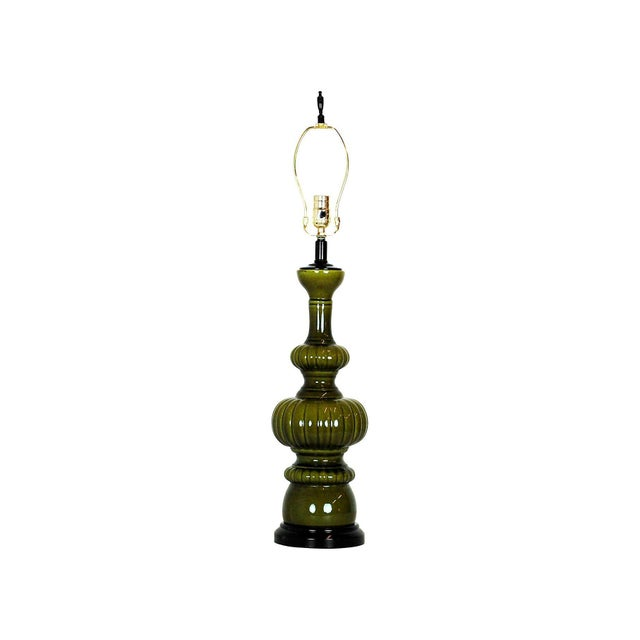 Mid-Century Modern Green Pottery Lamp - Image 4 of 4