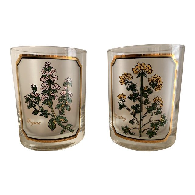 1950s Vintage Culver 'Thyme & Parsley' Old Fashion Glasses - a Pair For Sale