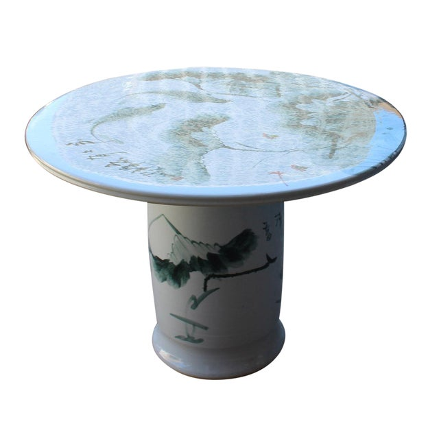 Chinese White Porcelain Green Lotus Fish Motif Round Table For Sale