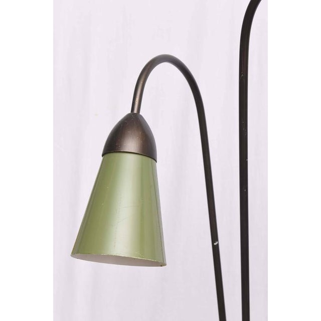 Pair of Italian Iron and Aluminum Floor Lamps With Shelf & Bud Vase, Italy For Sale - Image 4 of 11