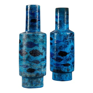 Bitossi, Pair of Ceramic Vase, One Mounted Lamp, Circa 1950, For Sale