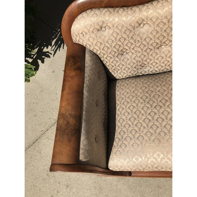 Ecru Mid 19th Century Victorian Meeks Attributed Flame Mahogany Veneer Sofa Settee For Sale - Image 8 of 11
