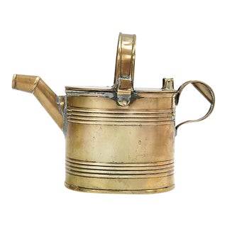 English Victorian Brass Watering Can For Sale