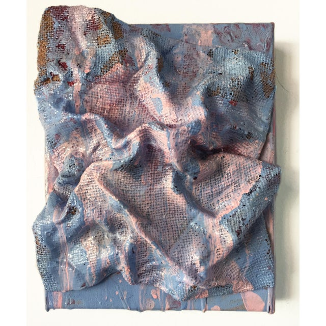 Mixed Media on Linen. 8x10x3 (note the sculpture overhangs the substrate and so is a bit bigger in each direction.)