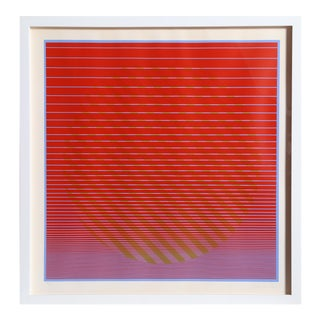 "Julian Stanczak, ""Rising 1"", Abstract Op Art Serigraph For Sale"