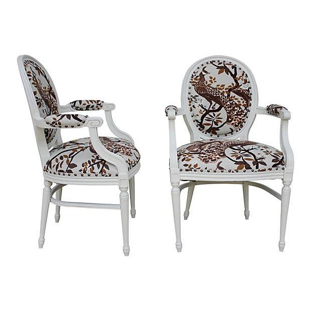 Vintage White Peacock Chairs - A Pair - Image 2 of 9