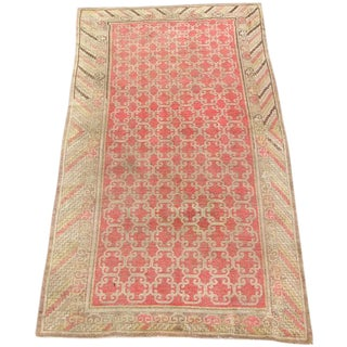 Early 20th Century Antique Khotan Handmade Rug - 4′6″ × 8′9″ - Size Cat. 5x8 6x9 For Sale