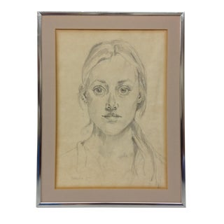 1978 Young Girl Portrait Drawing For Sale