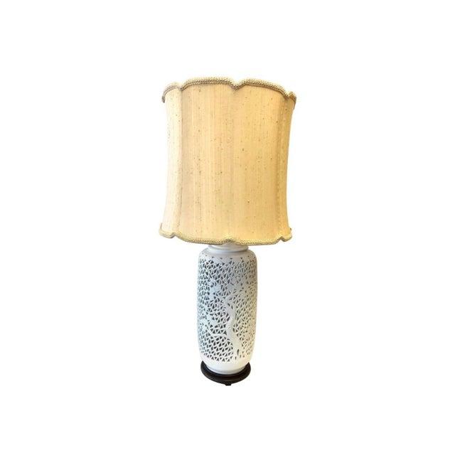 Vintage Pierced Porcelain Blanc De Chine Tall Lamp For Sale - Image 4 of 4