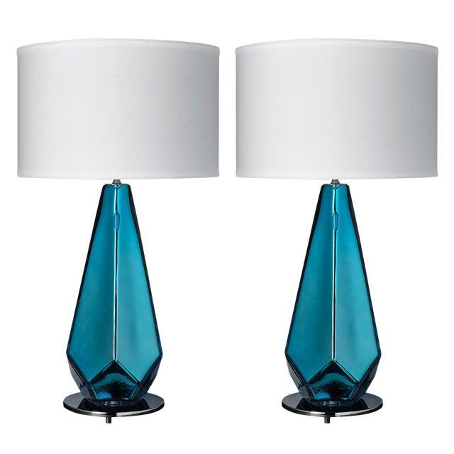 """Blue """"Specchiate"""" Murano Glass Lamps For Sale"""