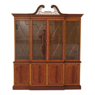 1990s Vintage Councill Craftsmen Highly Inlaid Mahogany Breakfront For Sale