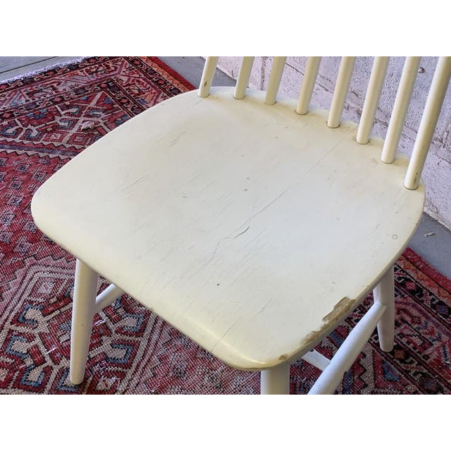 White Mid Century Modern Spindle Back Dining Chairs - Set of 4 For Sale - Image 8 of 9