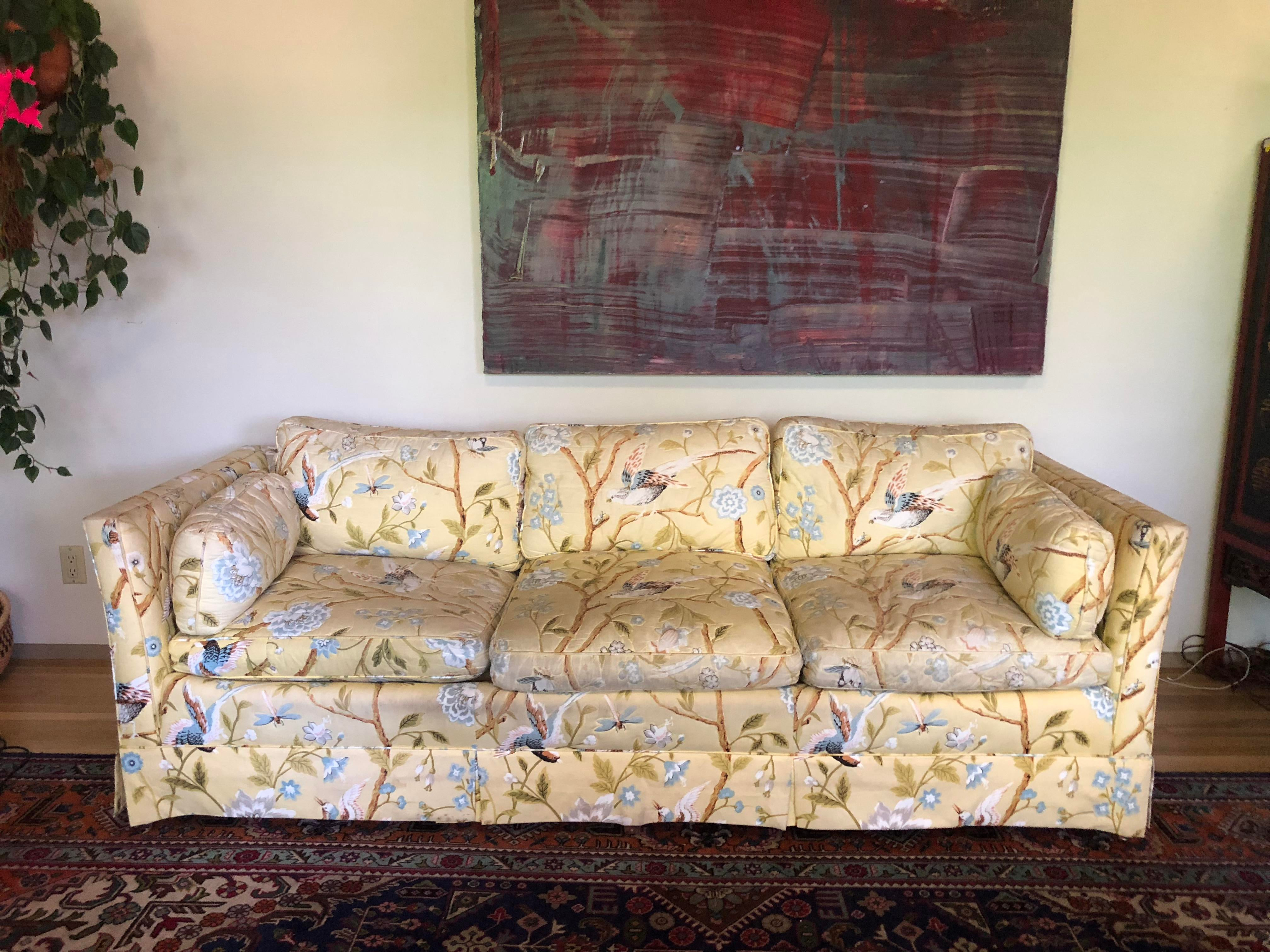 Merveilleux 1980s Vintage Baker Yellow Floral With Birds Sofa For Sale   Image 5 Of 5