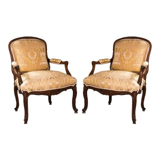 French Louis XV Style Walnut Bergeres - A Pair For Sale