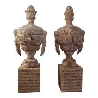 Pair of Carved Wood Urns With Swags For Sale