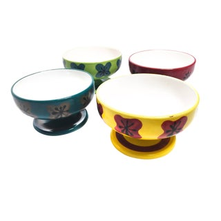 1960s Boho Chic Handmade Colorful Kitschy Atomic Sundae Serving Dishes - Set of 4 For Sale