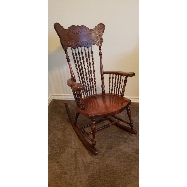 Brown 19th Century Carved Mahogany Twist Spindle Rocking Chair For Sale - Image 8 of 8