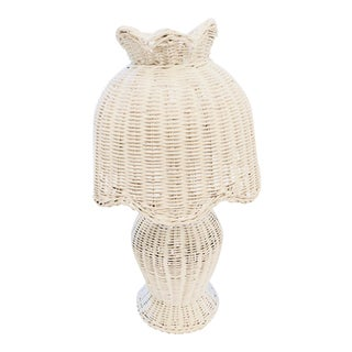 Vintage Cottage Chic White Wicker Lamp For Sale