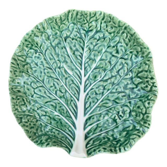 Vintage Aries C. Leal Green Cabbage Leaf Plate For Sale