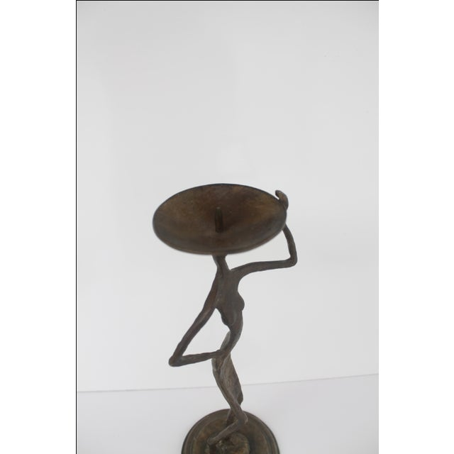 Brutalist Brass Abstract Candleholder - Image 7 of 9