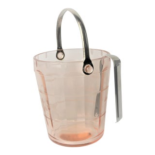 1950's Fostoria Pink Crystal Etched Floral Design Ice Bucket and Tongs For Sale