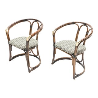 Mid-Century Modern French Riviera Bamboo and Brass Armchairs - a Pair For Sale