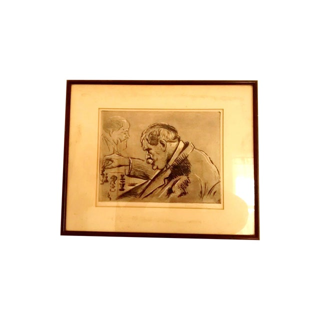 Paris Chess Club 1930 Abstract Etching - Image 1 of 5