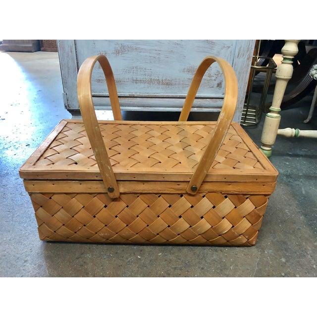 Farmhouse Vintage Wood Picnic Basket For Sale - Image 3 of 7