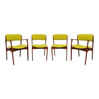 Mid-Century Solid Teak Danish Dining Chairs by Erik Buck- Set of 4 For Sale