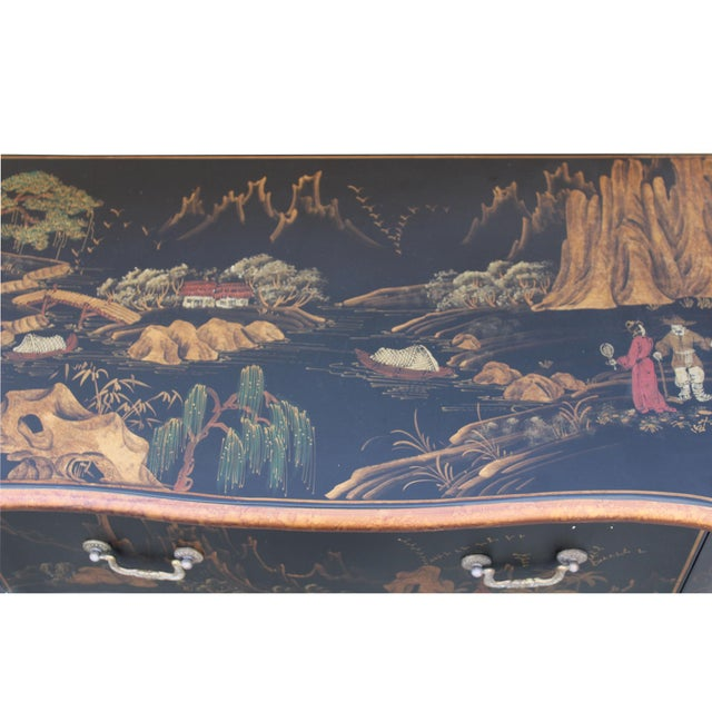 Chinese Oriental Black Gold Lacquer Scenery Graphic Credenza Side Table For Sale - Image 9 of 11