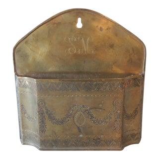 Vintage Brass Indian Embossed Letter Holder For Sale