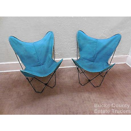Mid Century Modern Pair of Folding Iron & Canvas Butterfly Chairs For Sale - Image 13 of 13