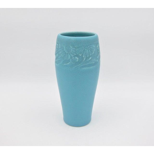 American 1930 Vintage Rookwood Pottery Arts & Crafts Blue Sunflower Vase For Sale - Image 3 of 12