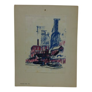 "Mounted Color Pittsburgh Print, ""Sunday"" by Julius Kahn - 1969 For Sale"