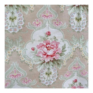 Art Nouveau Faded Floral Curtain With Ruffle For Sale