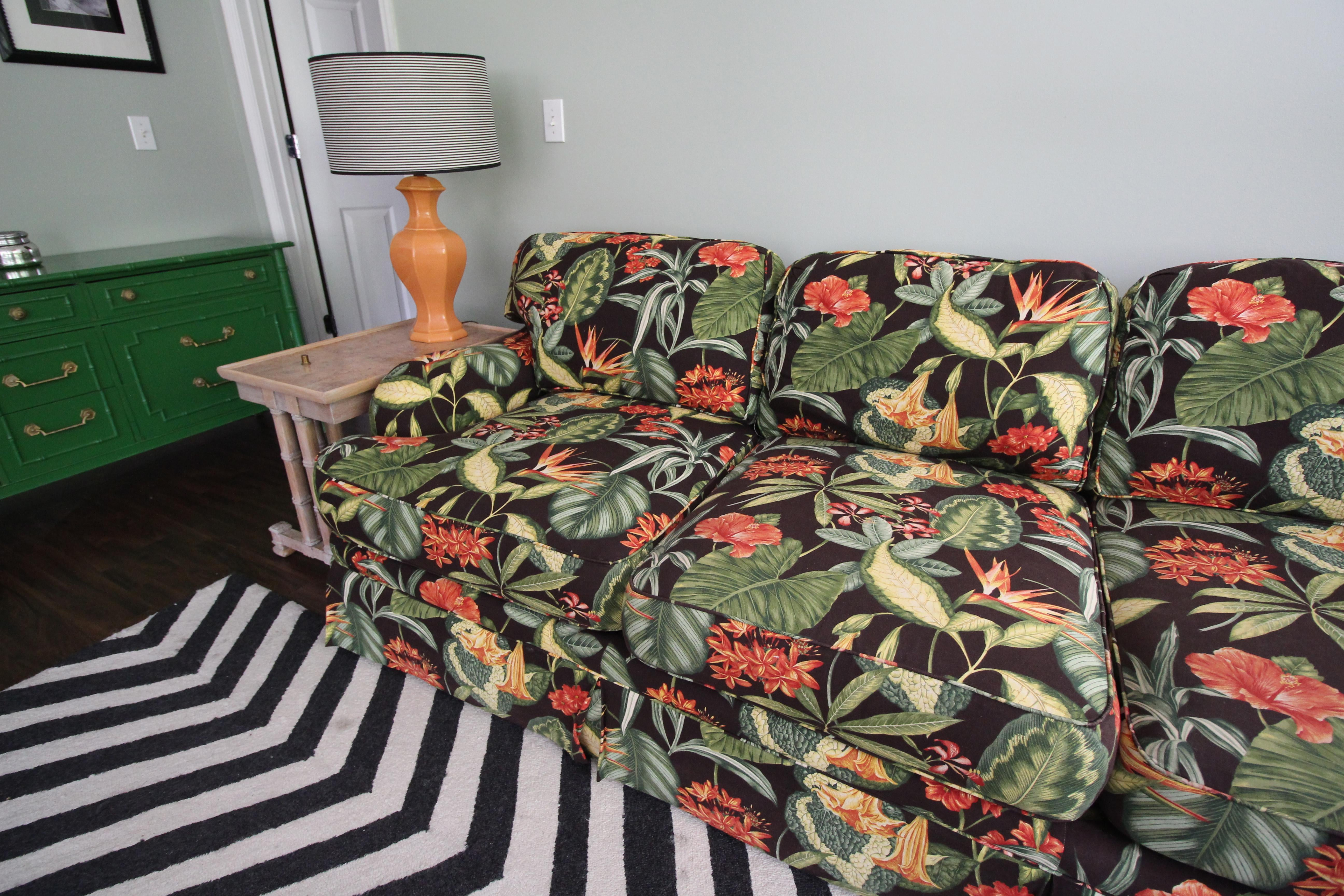 Large Drexel Heritage Tropical Print Sectional Sofa   Image 6 Of 6