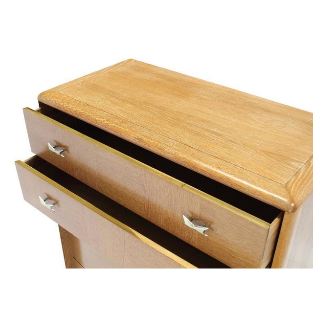 Brown Cerused Oak American Mid-Century Modern High Chest For Sale - Image 8 of 8