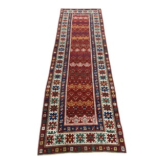 1960s Vintage Caucasian Geometric Runner-3′2″ × 10′ For Sale