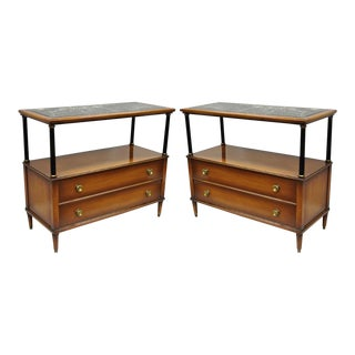 Maslow Freen French Empire Style Marble Top With Black Columns Servers - a Pair For Sale