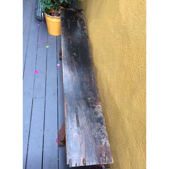 Orange Antique Chinese Wooden Bench For Sale - Image 8 of 11