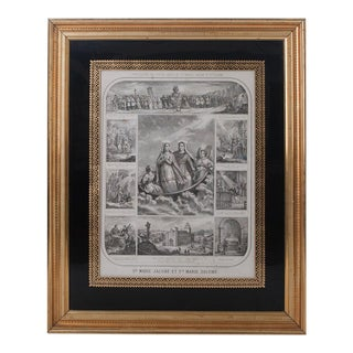 """French 19th Century """"The Procession of The Holy Relics"""" Lithograph For Sale"""