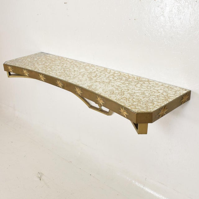 1950s Arturo Pani Mid-Century Mexican Modernist Star Brass Wall Console Table For Sale - Image 5 of 10