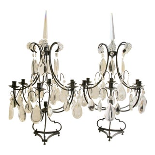 Mid Century Iron and Crystal Lustre Candelabras - a Pair For Sale
