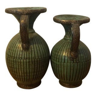 Vintage Moroccan Green Vases From Tamegroute - Set of 2 For Sale